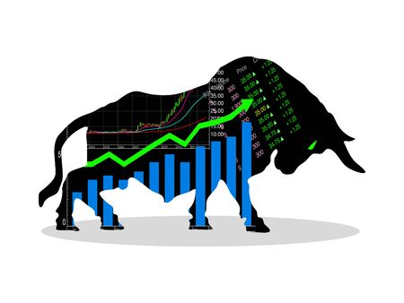 The bull market which rising price of securities are expected. Financial and stock investment market concept eps