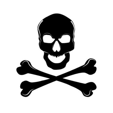 Skull and crossbones.a mark of the danger warning.vector illustration eps