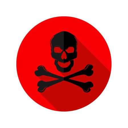Danger icon.red Cross skull logo.Hazard warning symbol.vector illustration eps