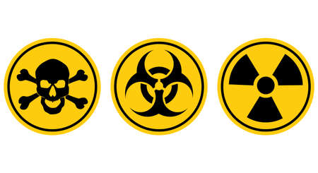 Danger signs.Radiation sign.Biohazard sign.Toxic sign.Poison sign.vector eps Vectores
