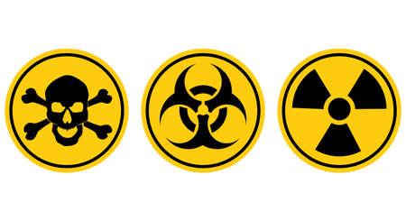 Danger signs.Radiation sign.Biohazard sign.Toxic sign.Poison sign.vector eps 일러스트