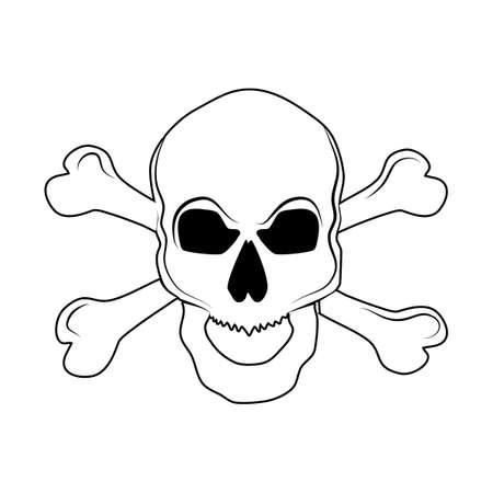 Outline Skull with bones sign.Danger or poison flat vector icon for websites .Vector illustration eps