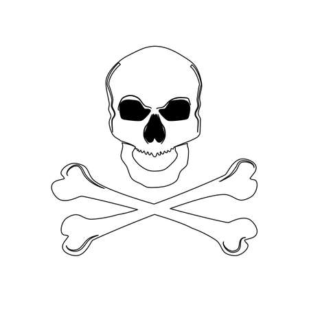 Outline skull with crossed bones in black. Isolated vector illustration eps Vectores
