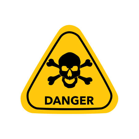 Skull Hazard triangle symbol vector image isolated on a white background eps Vectores