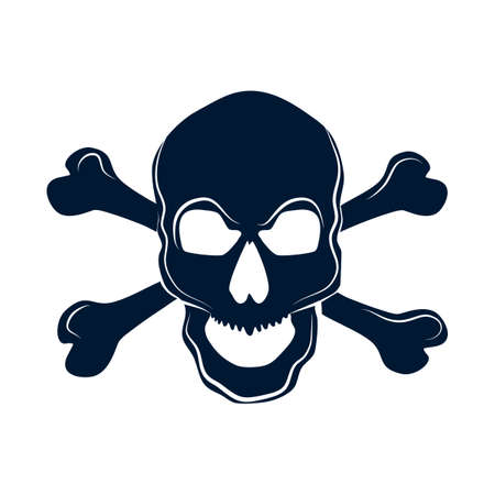 Skull with bones sign.Danger or poison flat vector icon for apps and websites .Vector illustration eps Vectores