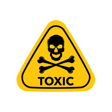 Triangle sign icon dangerously Yellow triangle sign with a skull toxic.Toxic zone.Vector illustration eps