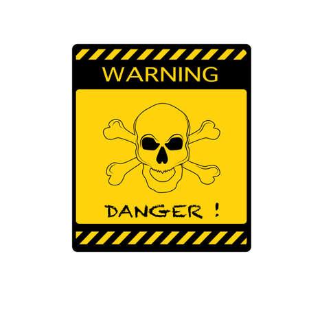 vector Danger sign with line skull symbol.Deadly danger sign. warning sign.danger zone eps