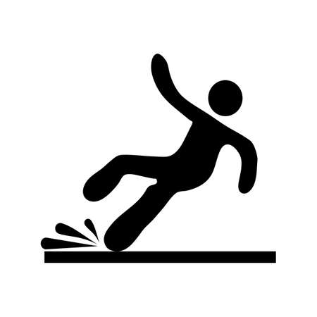 Wet Floor sign.falling man in modern style. Isolated on white background .vector illustration eps Vectores