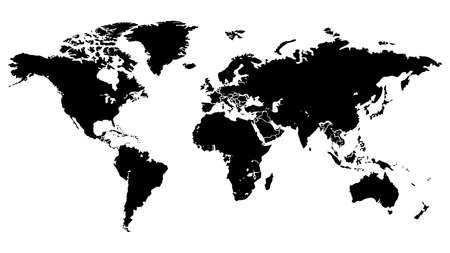World map modern.Globe map.Generalized world map.World map on isolated background.Vector