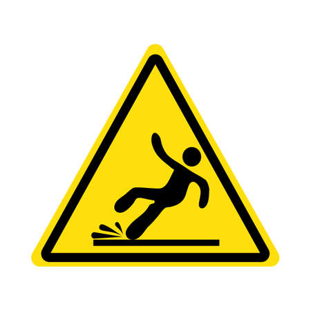 Yellow triangle with falling man in modern style .Wet Floor sign.vector
