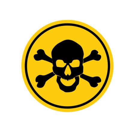 Danger sign with skull symbol. Deadly danger sign.warning sign.danger zone.vector illustration eps Vectores
