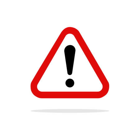 Red exclamation danger sign.Warning Dangerous attention i icon.vector illustration eps Vectores