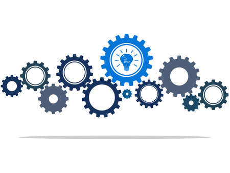 gear wheels and blue light bulb symbolizing idea or solution.vector illustration Vectores