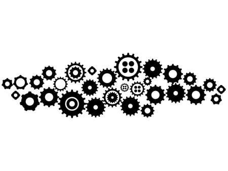 Gears in Progress.Gear wheel or cog. Mechanism.vector illustration Vectores