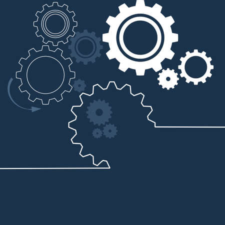 gears wheel with on the blue background. Infographic vector template. Vector illustration