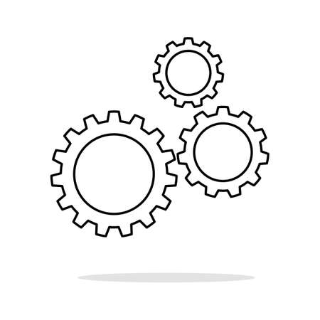 Icon of gears.Flat style.Cog sign.Setting icon.Gear logo.vector Illustration