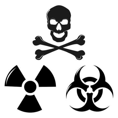 Silhouette Danger signs. Radiation signs. Hazard signs Hazard signs Poison signs illustrations