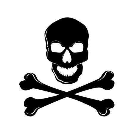 Skull with bones sign.Danger or poison flat vector icon.Vector illustration Vectores