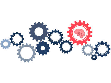 The gear wheel and the brain are symbols of concepts or the use of brain power and to solve problems