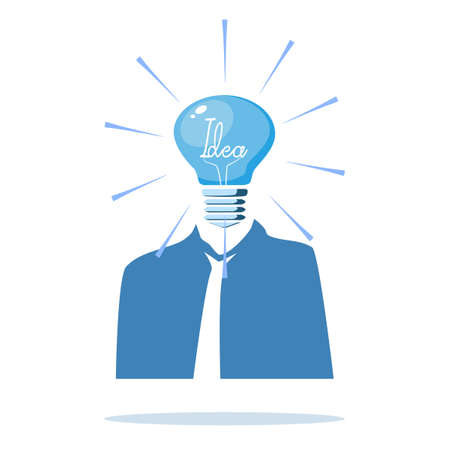 Thoughtful man and blue light bulbs. Using creative thinking.vector illustration Vectores
