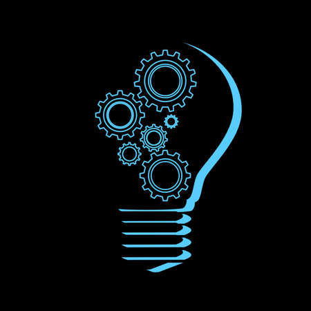 abstract Light bulb and cog inside.gear icon modern.vector illustration eps