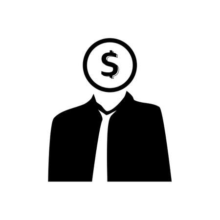 Black silhouette Businessman and money dollars.Business and Finance.Vector illustration eps Vectores