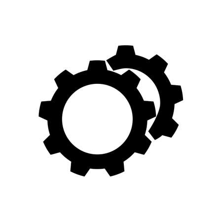 Black silhouette Gears icon Vector.style is a flat symbol on transparent background. Designed for web eps Vectores