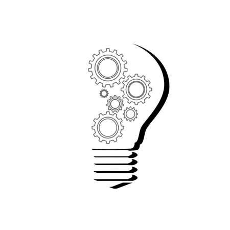Black silhouette Light bulb and cog inside.gear icon modern.vector illustration eps Vectores