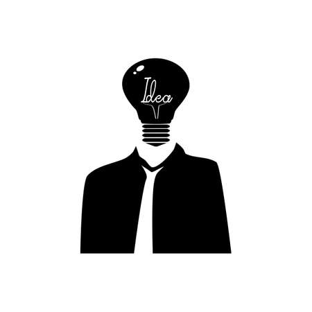 Black silhouette Thoughtful man and light bulbs. Using creative thinking.vector illustration eps