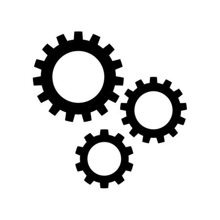 Black silhouette Three gear sign simple icon on white background eps Vectores