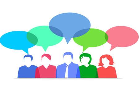 businessmen discuss social network.news.social networks. chat.dialogue speech bubbles eps