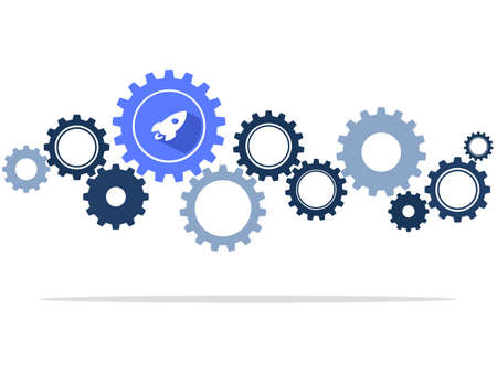 Cog wheels and rockets are symbols of concepts or ways to start up. vector illustration eps Vectores