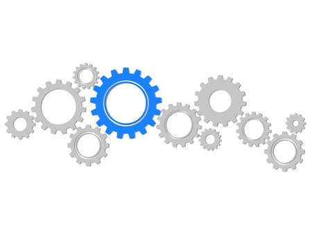 Cogwheel symbol. Mechanism.concept process.Infographic header with gray and blue gears on transparent background eps Vectores