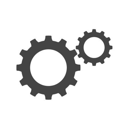 Gear icon flat design. Metal gears and cogs vector. Mechanism wheels symbol. Cogwheel template eps Vectores