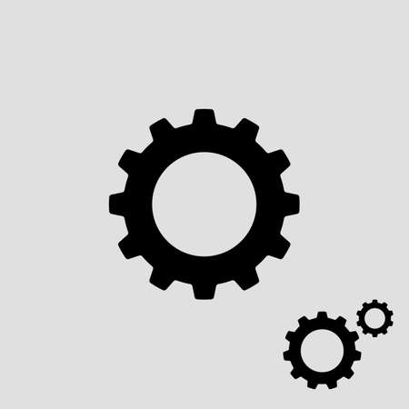 Gear icon flat design.Metal gears and cogs vector.Settings icon with additional gears icon.vector illustration eps Vectores