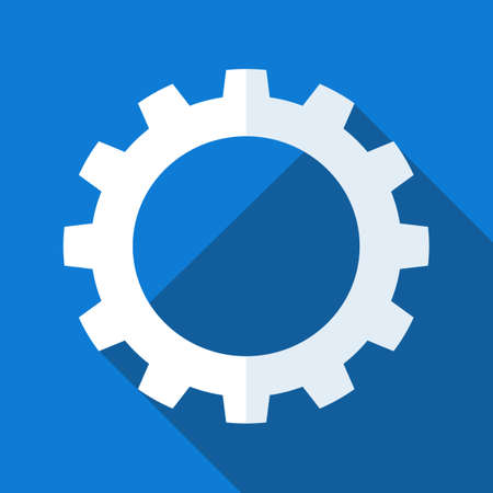 gear Icon vector. Simple flat symbol. Perfect white pictogram illustration on blue background eps Vectores