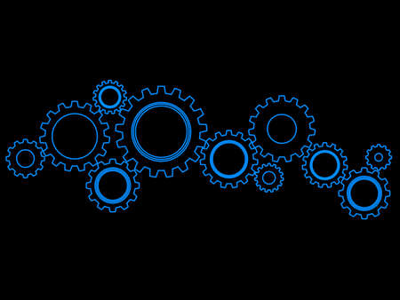 Gear or cog icon on a black background. Mechanism vector.Technology concept eps