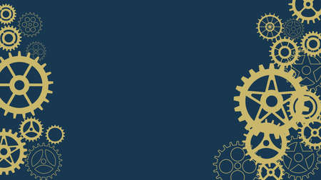 Abstract gear background with geometric gear wheels. Space for gear text.Mechanism industrial concept.