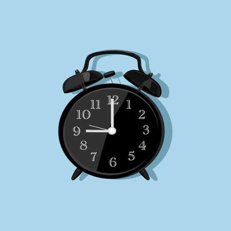 black vintage alarm clocks on light blue background.vector illustration eps