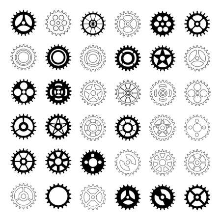 Cogwheel flat machine gear icon.Collection of gear. Set of black machine gear on a white background.