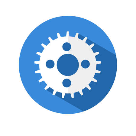 Gear icon.flat style of a gear wheel on a circular background with a long shadow.
