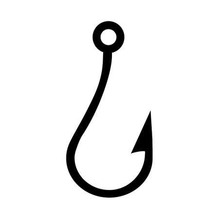 silhouette Fishing hook icon on white background. Illusztráció