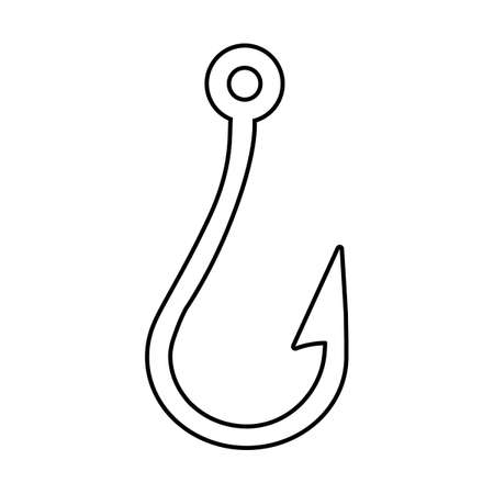 silhouette Fishing hook icon on white background. vector