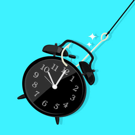 clock hung on a fish hook. Time trap and do not waste time concept. vector illustration eps
