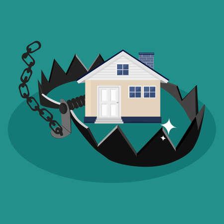 House and traps. The concept of dangerous property. vector illustration. eps Vektoros illusztráció
