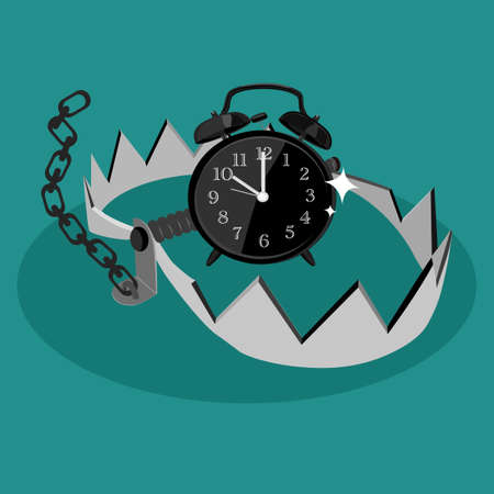 Alarm clock in bear trap. The concept of time trap. vector illustration eps