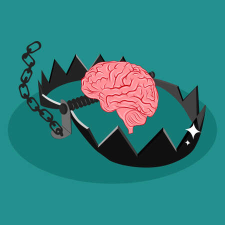 The brain is trapped. The brain is in a trap. Unthinkable. vector illustration eps