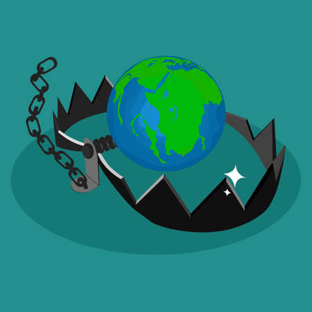 The world and trap. The world is trapped. Concept of environmental conservation. vector illustration eps