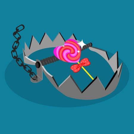 heart in a trap. Online internet romance scam or valentine day in darkside concept. Love is bait or victim. vector Vektoros illusztráció