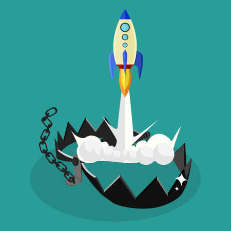 Rocket and Trap. Rocket launches from a trap. The concept of liberation. Starting a business. vector
